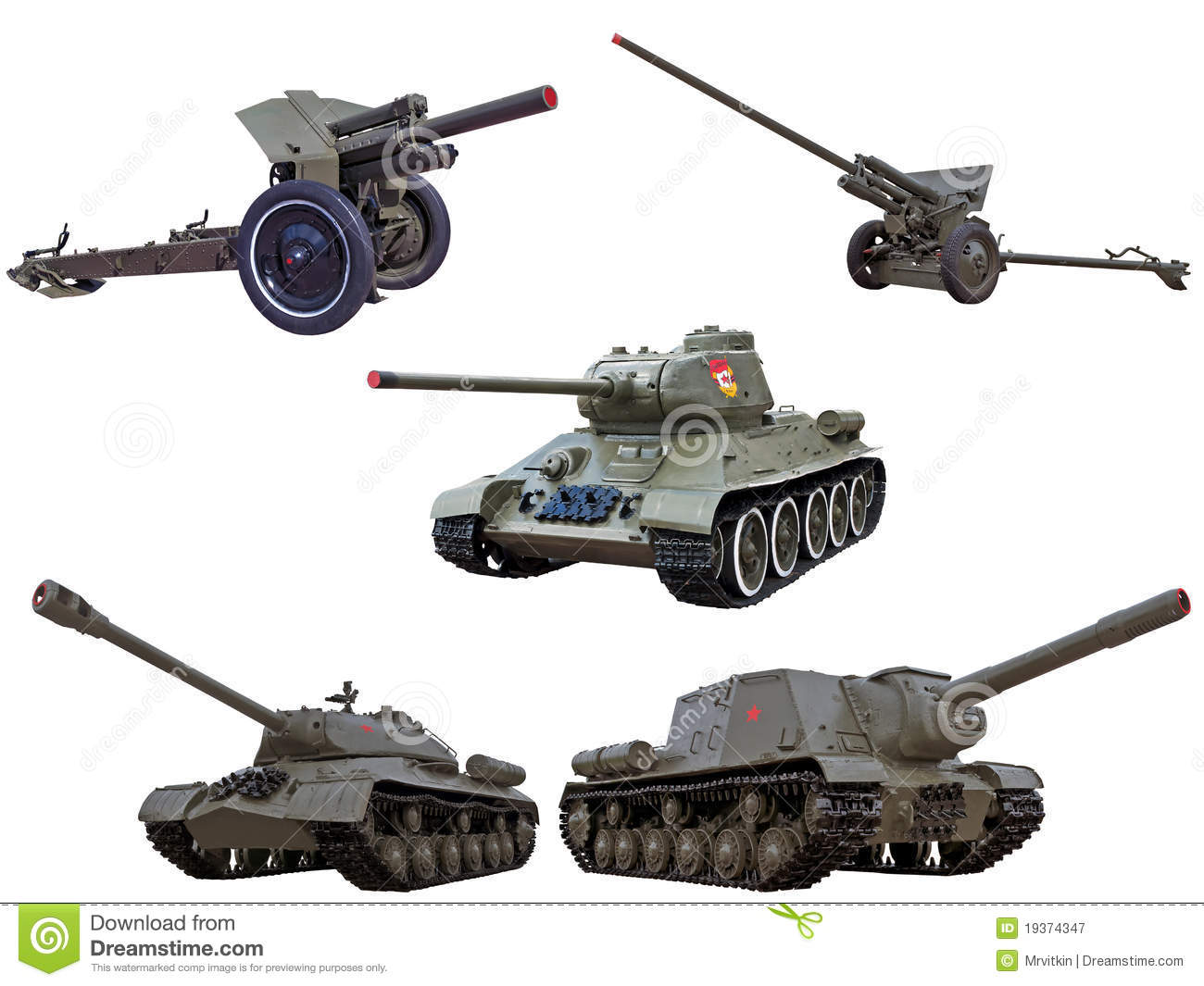 World War Red Army Soviet Guns Cannons Tanks Royalty Free Stock.