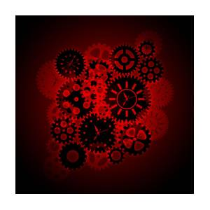 Time Clock Gears Clipart On Red Background.