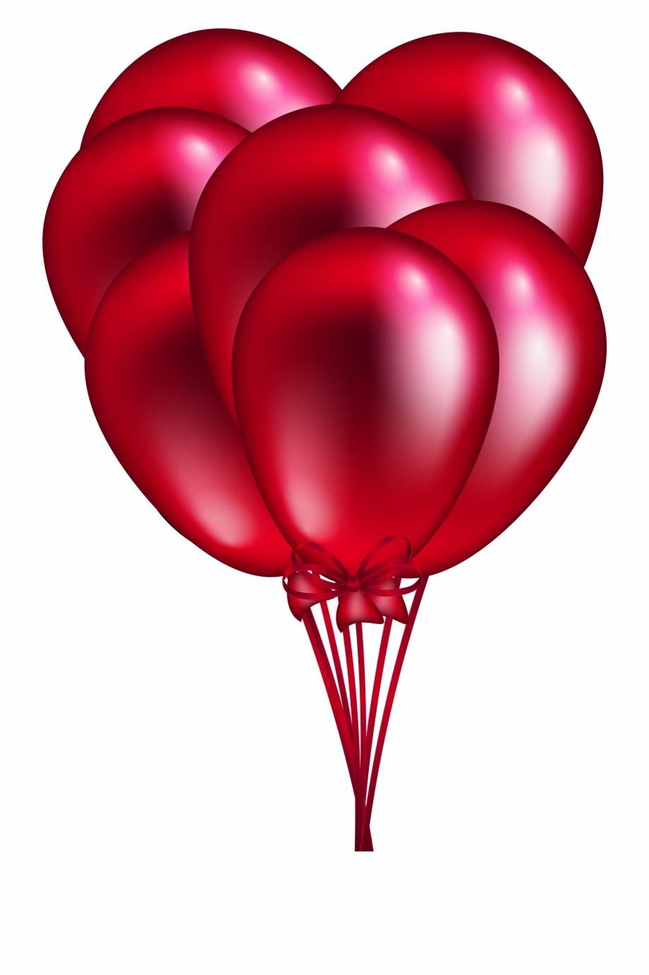 Red Balloon Bunch Png Clip Art.