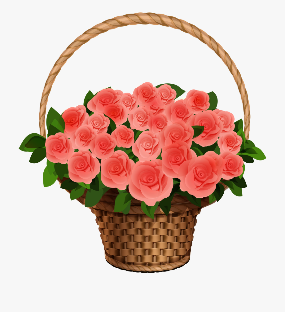 Basket With Red Roses Png Clipart Image.