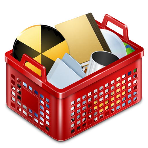 Red Basket Full Icon, PNG ClipArt Image.