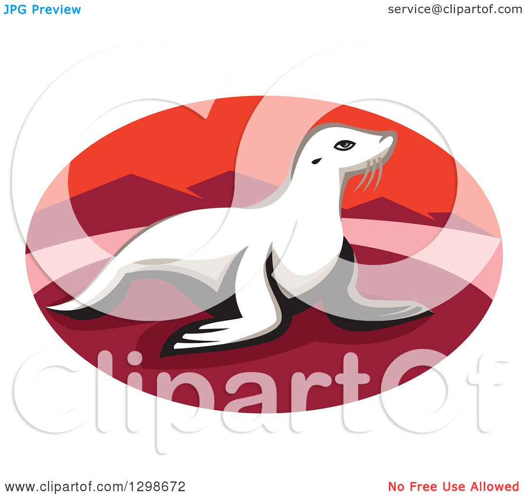 Clipart of a Retro New Zealand Fur Seal on a Red Beach with.