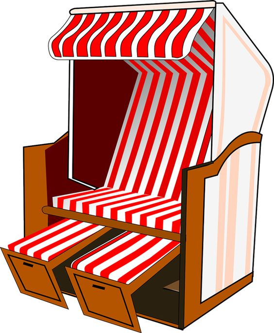 Free Red Beach Chair Clip Art.