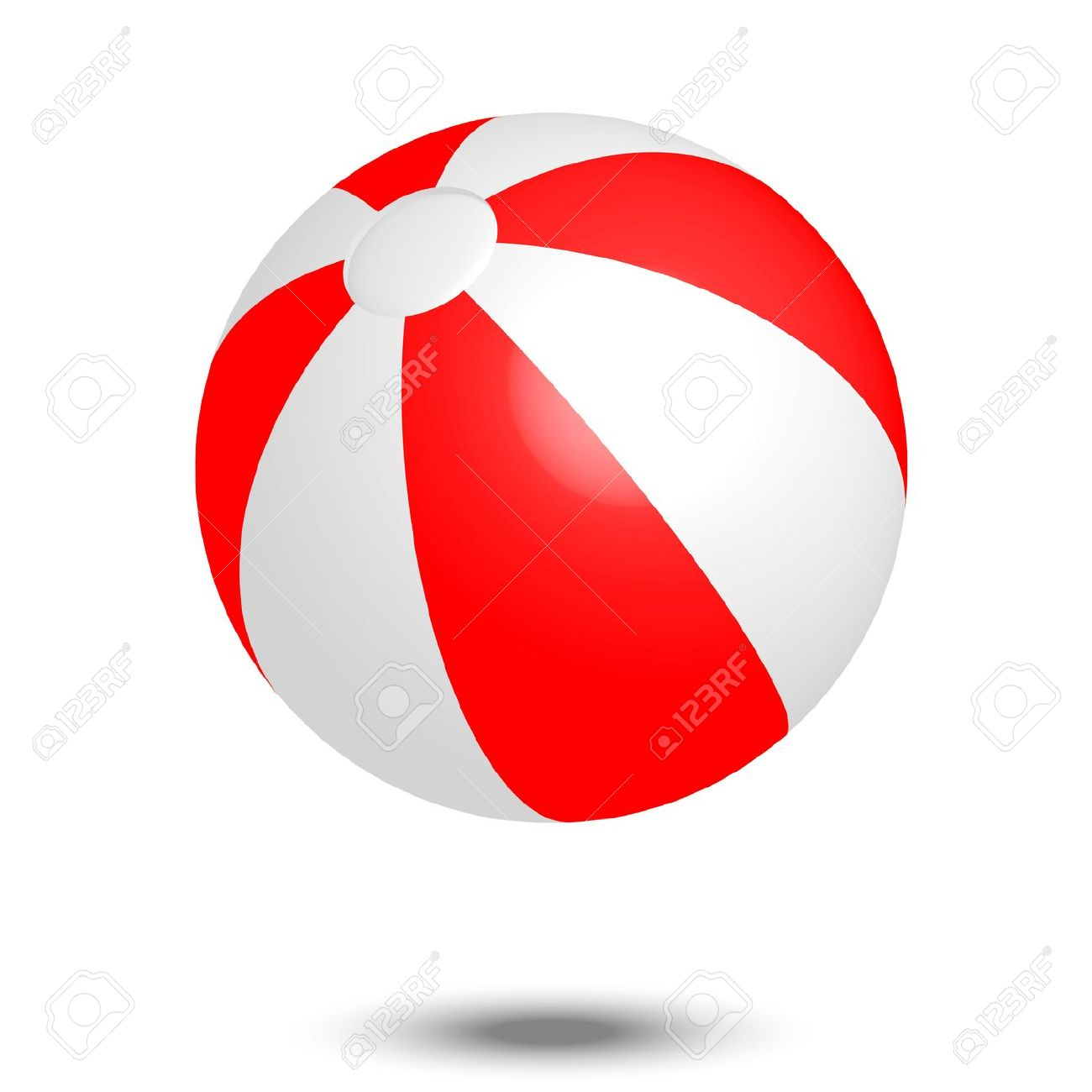 Vector Illustration Of Red White Beach Ball Royalty Free Cliparts.