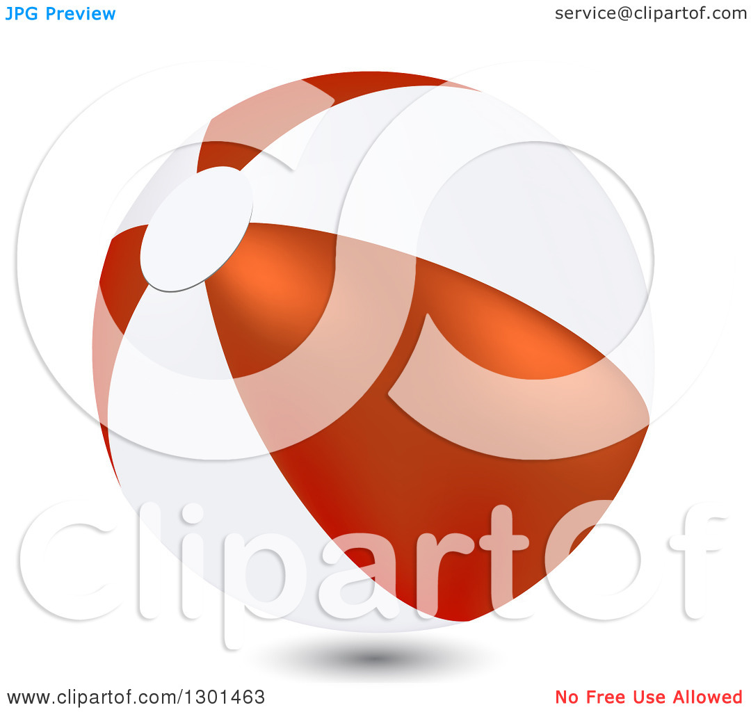 Clipart of a 3d White and Red Beach Ball on White.