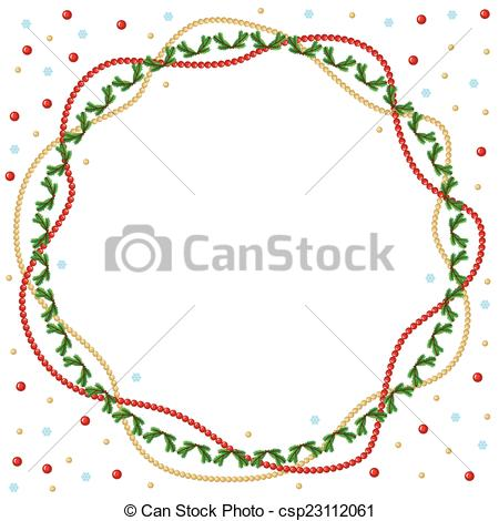 Clip Art Vector of Christmas round greeting frame of gold and red.