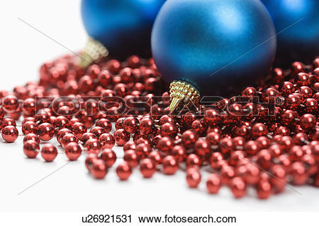 Stock Photography of Still life of large blue Christmas ornaments.