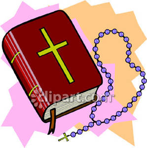 Red Bible and Purple Rosary Beads.