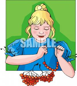 Girl Making Necklaces with Red Beads.