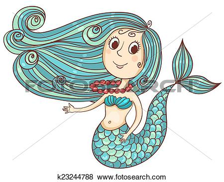 Clip Art of Cute mermaid with red beads k23244788.