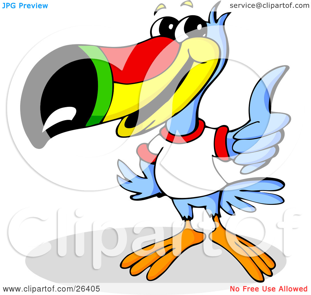 Clipart Illustration of a Blue Toucan Bird With A Red, Yellow.