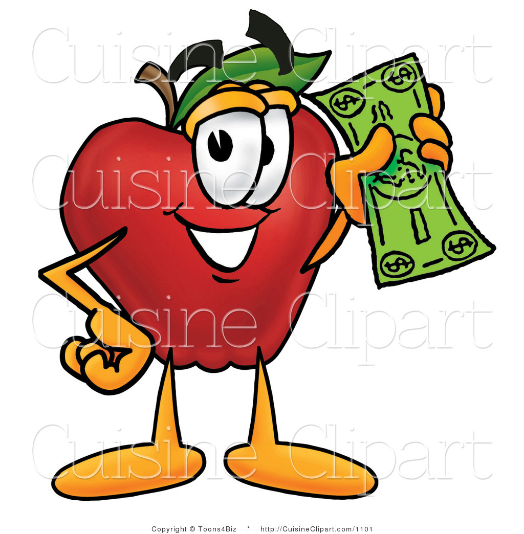 Cuisine Clipart of a Nutritious Red Apple Character Mascot Holding.