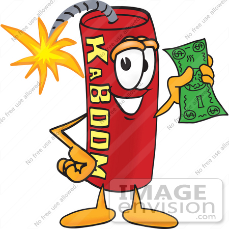 Clip Art Graphic of a Stick of Red Dynamite Cartoon Character.