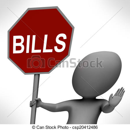 Stock Illustration of Bills Red Stop Sign Means Stopping Bill.