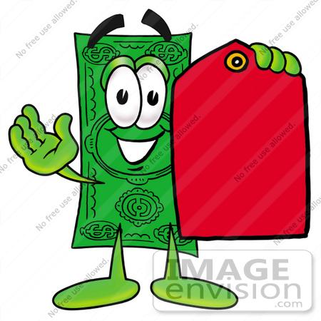 Clip Art Graphic of a Flat Green Dollar Bill Cartoon Character.