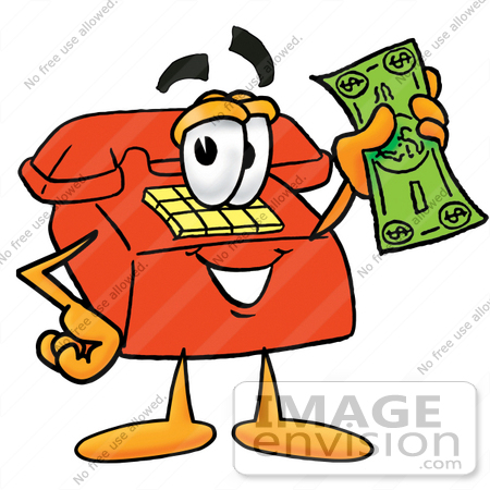 Clip Art Graphic of a Red Landline Telephone Cartoon Character.