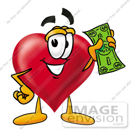 Clip Art Graphic of a Red Love Heart Cartoon Character Holding a.
