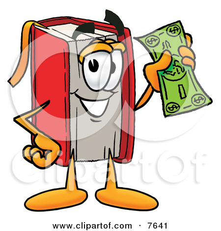 Clipart Picture of a Red Book Mascot Cartoon Character Holding a.