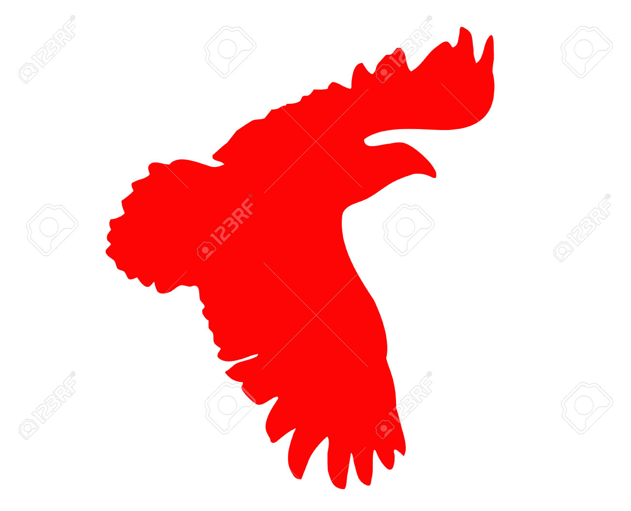 Clipart of red bird silhouette.