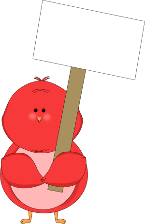 Red Bird Holding a Blank Sign Clip Art.