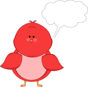 Red Bird with a Blank Callout Clip Art.