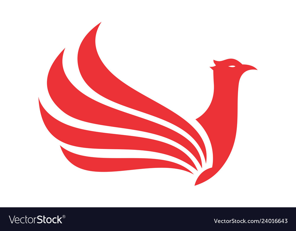 Abstract red bird wings logo icon.