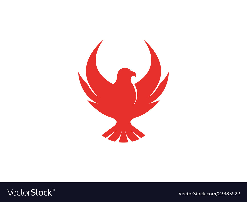 Bird red eagle open wings flying logo.