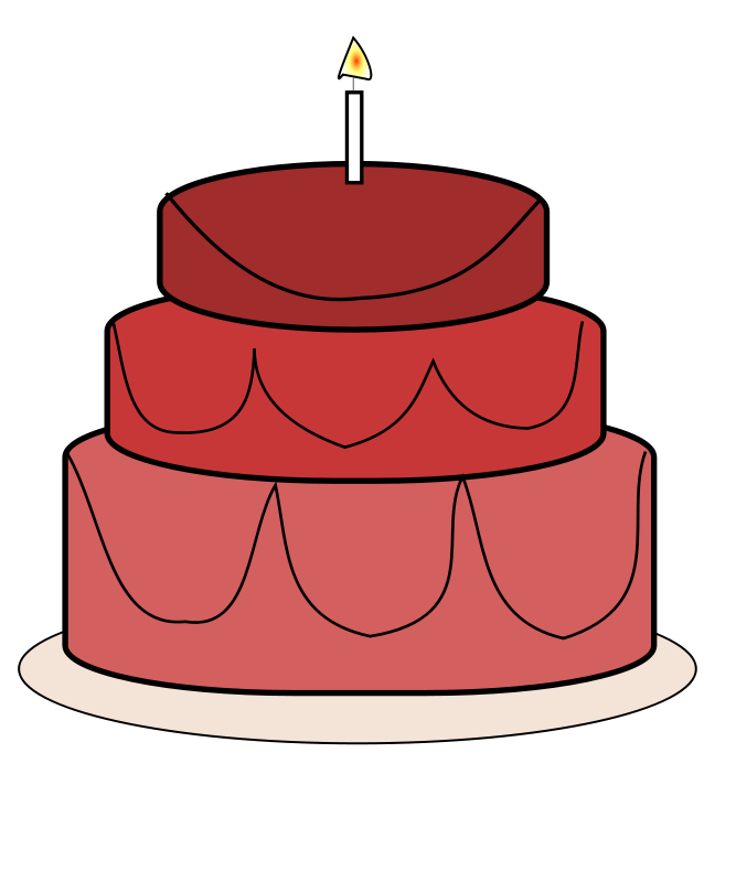 Red Birthday Cake Clipart.