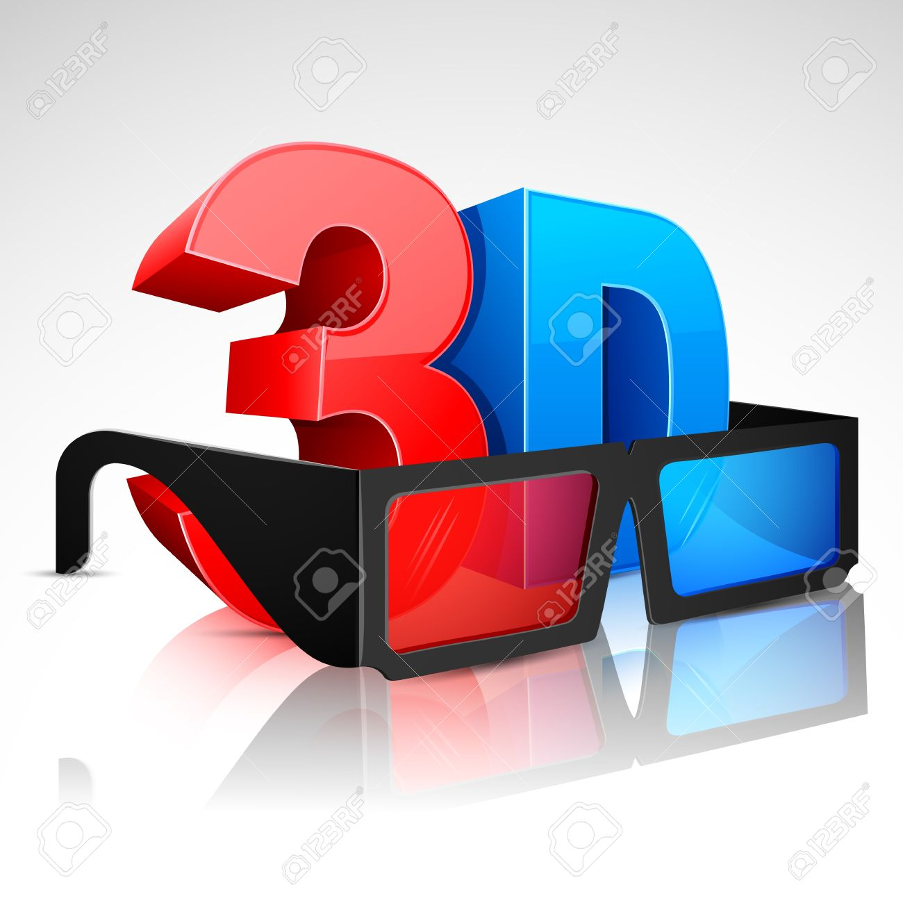 Illustration Of 3D Word Written In Red And Blue Color With 3D.