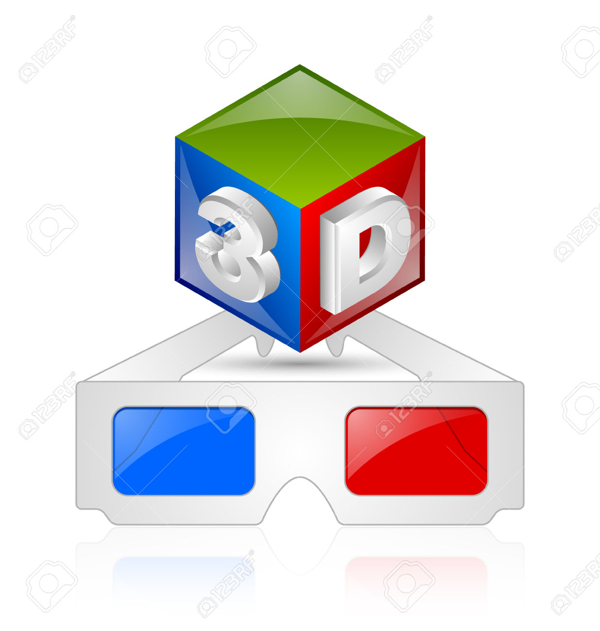 Anaglyphic 3D Red Blue Glasses And Cube On White Background.
