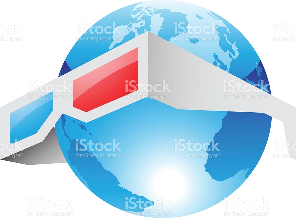 3d Red Blue Glasses And World stock vector art 525586037.