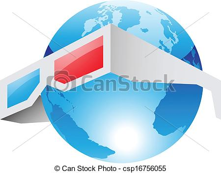 Clipart Vector of 3d Red Blue Glasses and World.