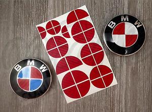 Details about RED CARBON FIBER HALF FOR BMW Badge Emblem Overlay Sticker  HOOD RIMS FIT ALL BMW.