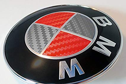 Grey and Red Carbon Fiber Sticker Overlay Vinyl for All BMW Emblems Caps  Logos Roundels.