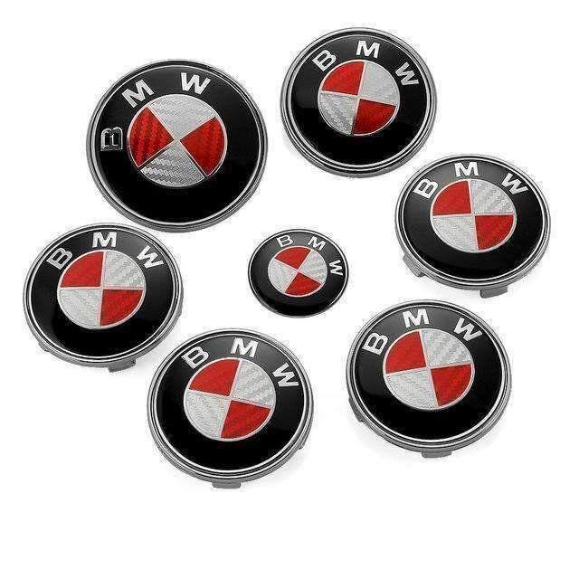 7pcs/lot New BMW Red/Silver Real Carbon Fiber Emblem Logo Badge Set 82/74mm.