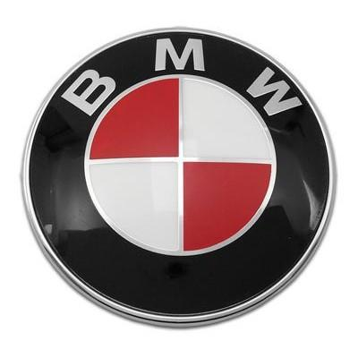 74MM BMW RED & WHITE EMBLEM HOOD TRUNK BADGE 2 PINS.