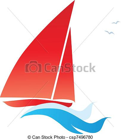 Vector Clipart of red sail boat csp7496780.