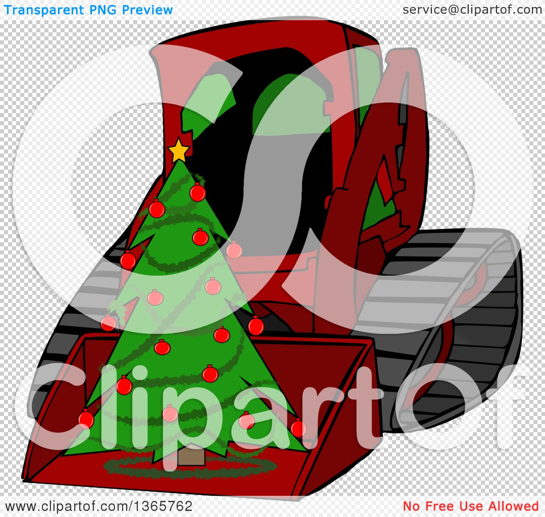 Clipart of a Cartoon Red Bobcat Skid Steer Loader with a Christmas.
