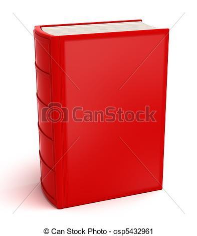 Clipart of Red book isolated on white . Clean cover csp5432961.