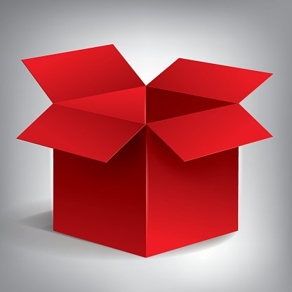 Open Volume Red Box, Abstract Object, Vector Design premium.