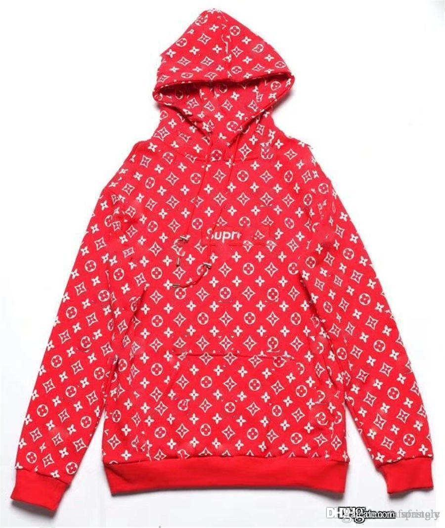 2017 Hot MONOGRAM box logo hooded sweatshirt RED WHITE NEW LARGE SUP Supree  X L V BOGO Hoodie Hoodie Red Box Logo.