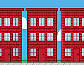 Clipart of Building Windows Red Brick k14946583.