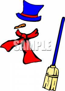 Snowman broom clipart.