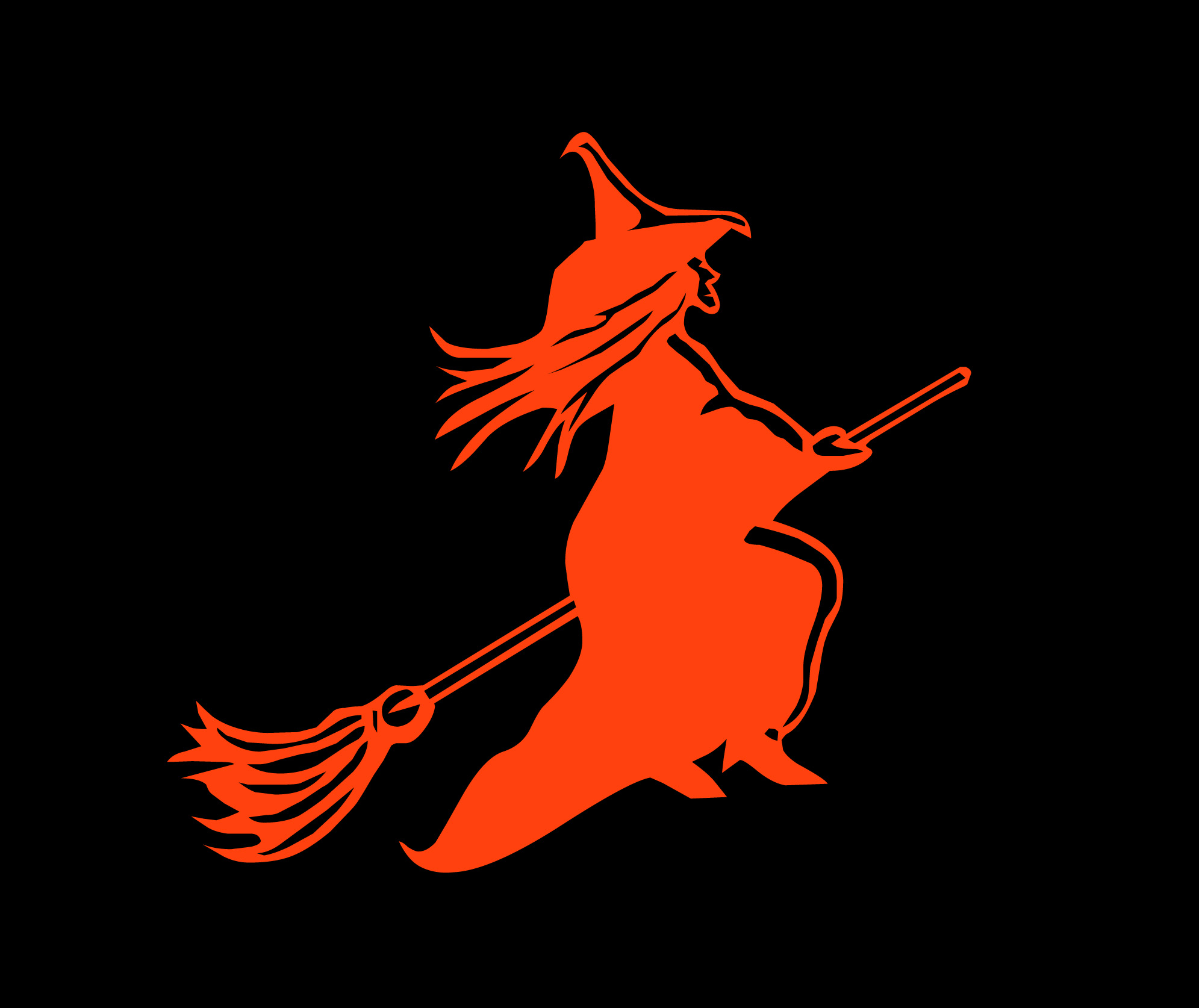 Image of red witch on a broom.