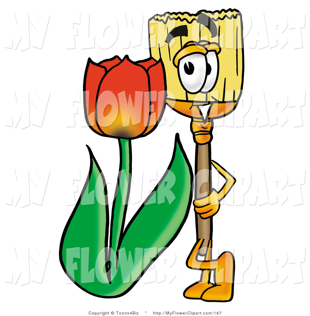 Clip Art of a Broom Mascot Cartoon Character with a Red Tulip.
