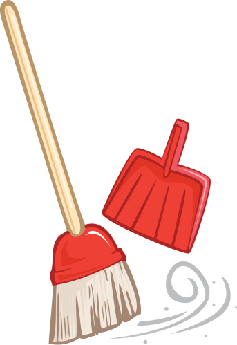 Broom and dustpan clipart.