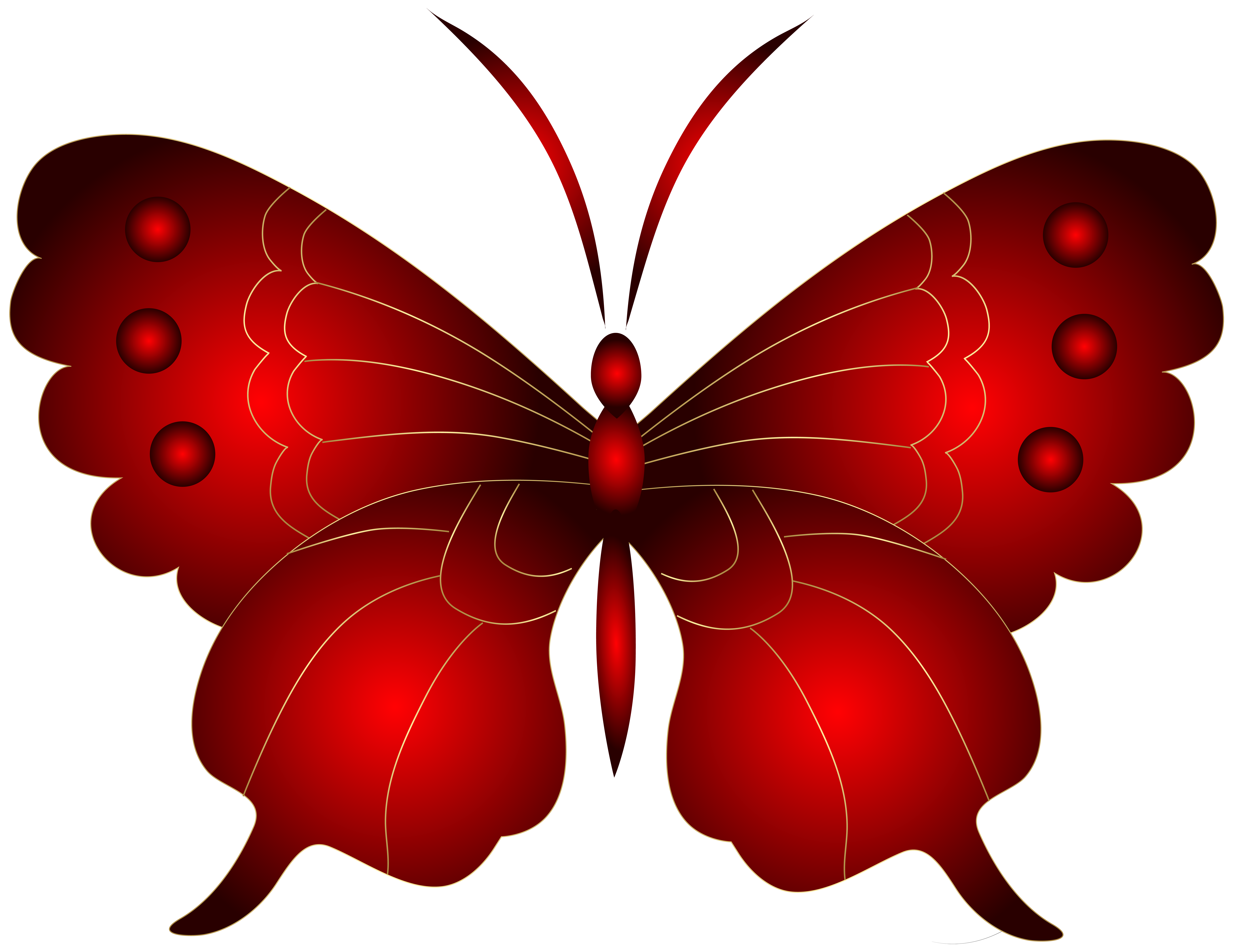 Decorative Red Butterfly PNG Clip Art Image.