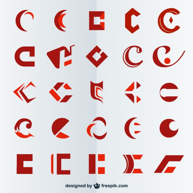 Red polygonal logos collection Vector.