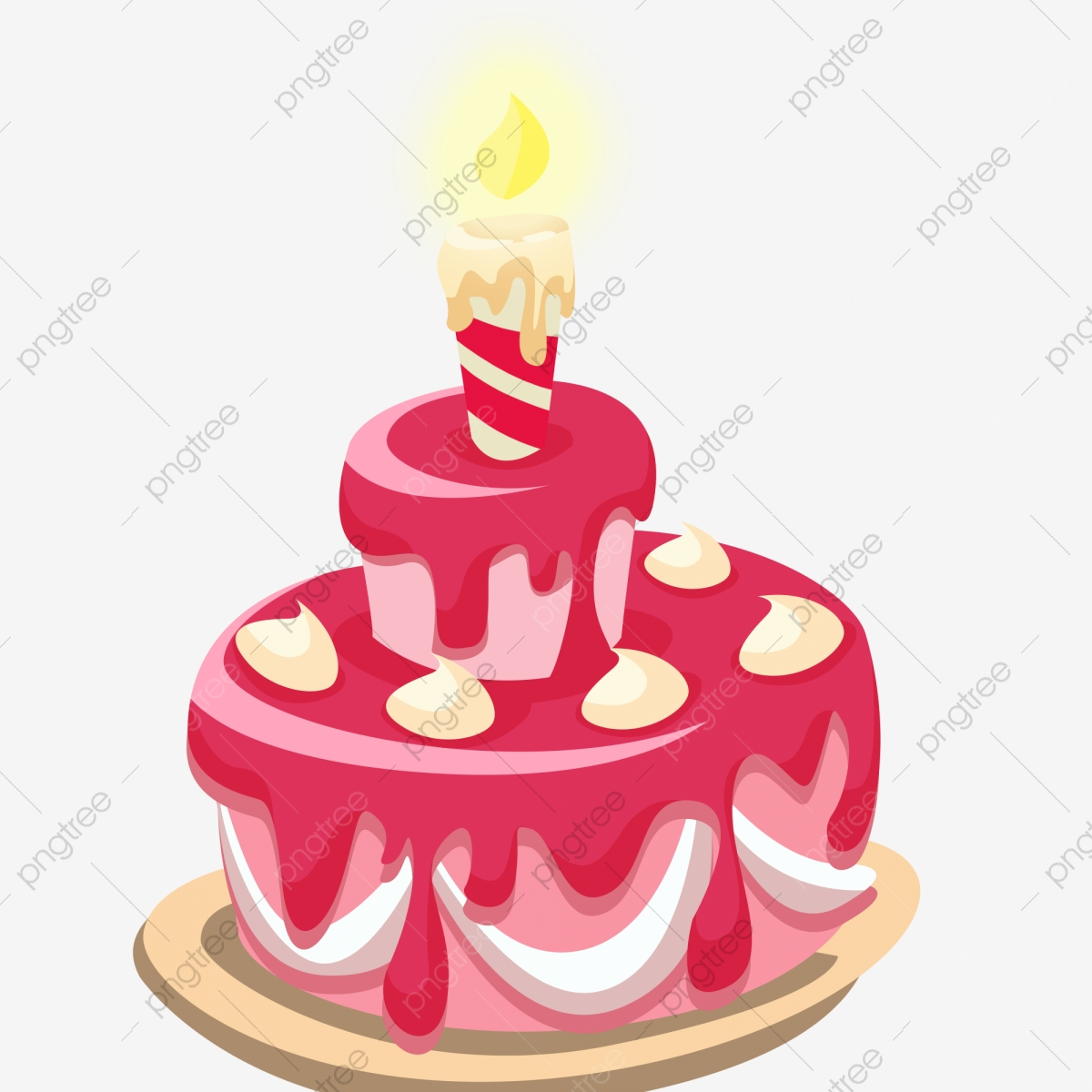 Cake With Candles Red Cake Small Cake Cartoon Cake, Cake.