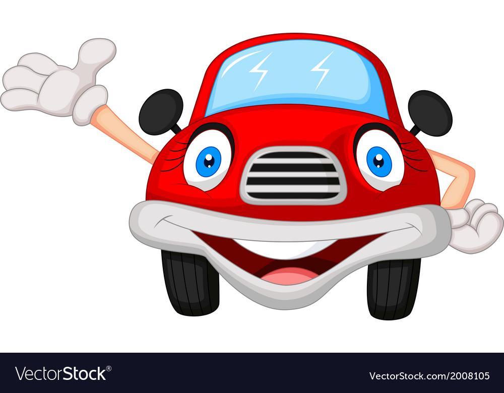 Cute red car cartoon character.